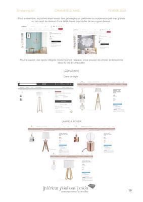 shopping list décoration chambre - choix lampe
