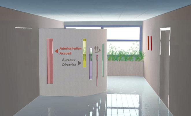 claustra/panneau indicatif des bureaux de la Communauté de Communes
