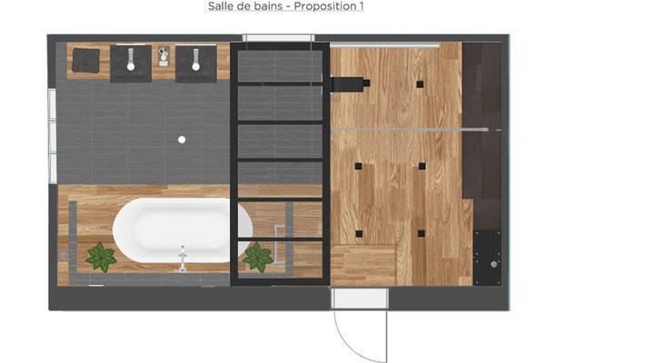 plan salle de bains style industriel
