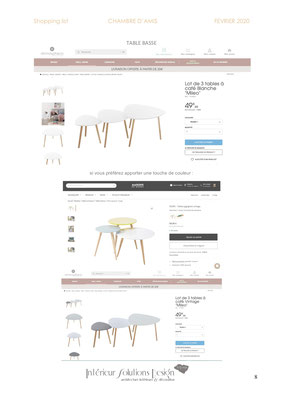 shopping list décoration chambre - choix table basse