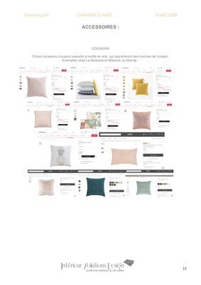 shopping list décoration chambre - choix coussin