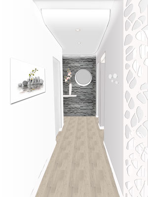 rénovation entrée, parquet, murs gris perle