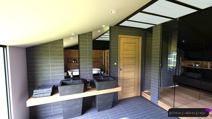 salle de bains style industriel sous combles