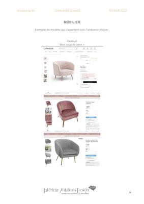 shopping list décoration chambre - choix fauteuil