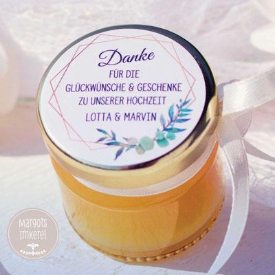 Honig - süße Gastgeschenke - Dankeskarte - Tischkarte - Hochzeit - Kommunion - Konfirmation - Geburtstag - personalisierbar - Meant to bee