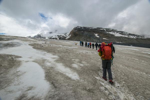 Sur la glacier Athabasca