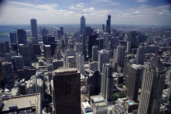 Vue sur Chicago et son centre financier depuis la Hancock Tower !