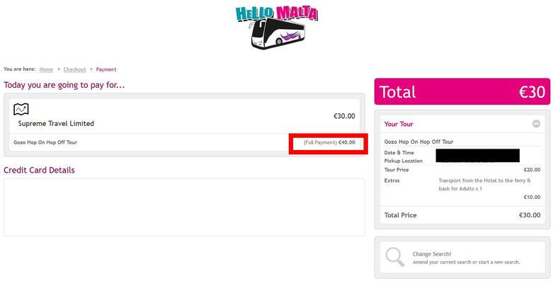 Impression Ecran : C'est écrit en tout petit mais le prix du billet sera facturé 10€ de plus sur Hello Malta !
