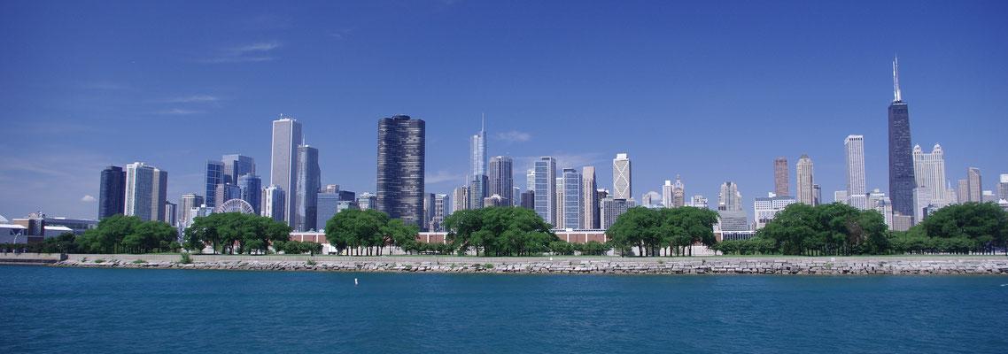 Vue sur la magnifique Skyline de Chicago depuis le Lac Michigan !