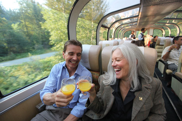 Cheers, GoldLeaf Service. Photo Credit - Rocky Mountaineer