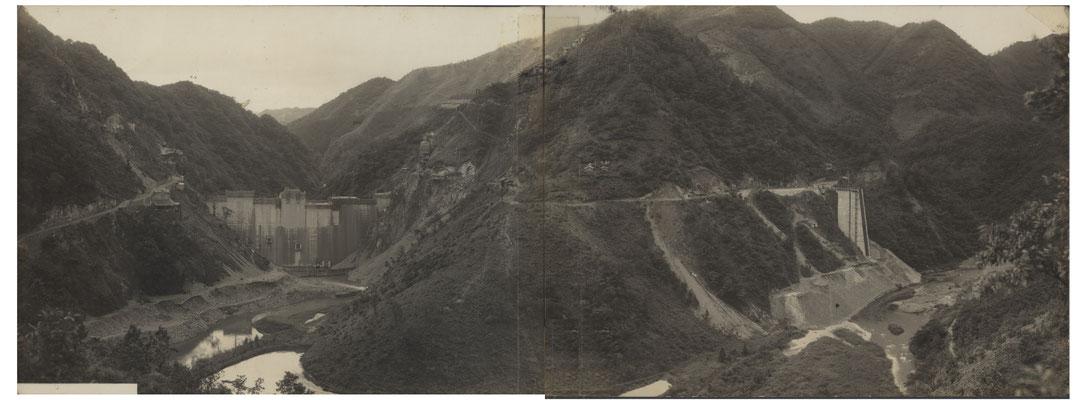 昭和29年、ダム完成間近。このご家族さまは、新しいお家を堰堤の近くの山の上に建てられ、ダム湖遊覧船のお仕事を始められたそうです。