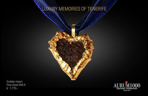 Herz aus Feingold 999 mit Lava, Feingoldspezialist Nr.1 - Krahn Design - AURUM1000