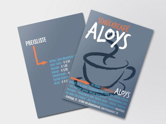 Bürgerstiftung Gerricus, Düsseldorf-Gerresheim | Schülercafé Aloys | Info-Flyer mit Preisliste