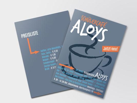 Flyer zur Ankündigung des neuen Schülercafés »Aloys« in Düsseldorf-Gerresheim | Vorder-/Rückseite