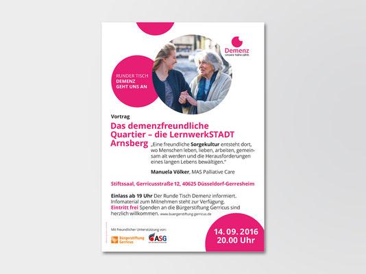 Runder Tisch Demenz, Düsseldorf | Gestaltungskonzept für Plakate zu allen Veranstaltungen