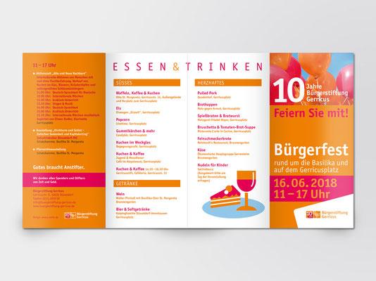 Bürgerstiftung Gerricus | 10-jähriges Jubiläum | Bürgerfest | Programm-Faltblatt | Seite 2