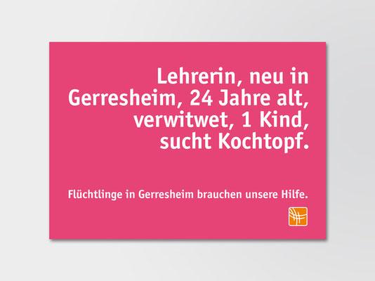 Postkarte mit Spendenaufruf | ©Andrea Osche – www.a-osche.de