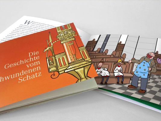 Broschüre für Kinder zum Kirchenschatz von St. Margareta, Düsseldorf | Titel- und Innenseite | Illustration: ©Timon Osche