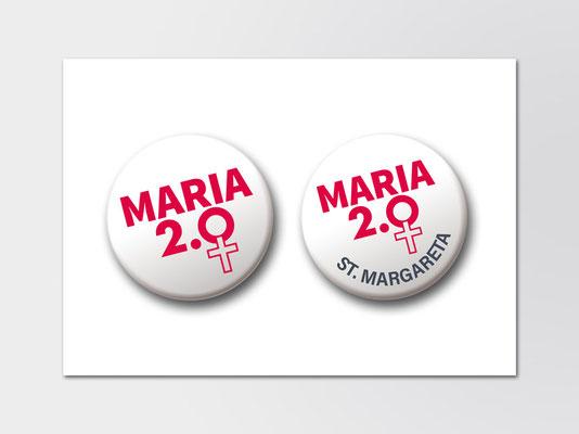 Maria 2.0 | Logo in Button-Form | Neutral und individuell für Gemeindemitglieder von St. Margareta, Düsseldorf-Gerresheim