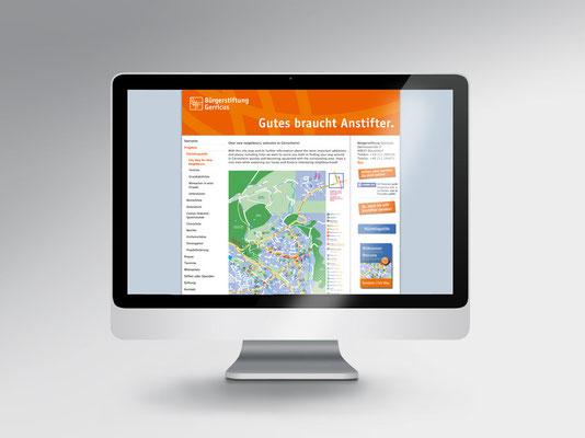 Gerresheim-Stadtplan für Flüchtlinge | Ansicht auf der Homepage der Bürgerstiftung Gerricus