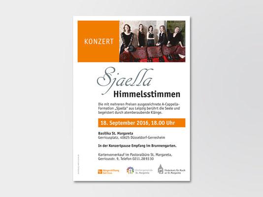 Bürgerstiftung Gerricus, Düsseldorf-Gerresheim | Konzert | A-Cappella-Ensemble »Sjaella« | Veranstaltungsplakat