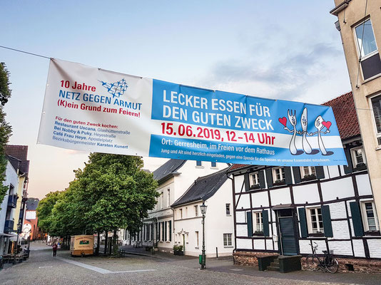 Netz gegen Armut, Düsseldorf | 10-jähriges Jubiläum | Banner 1 x 4 m
