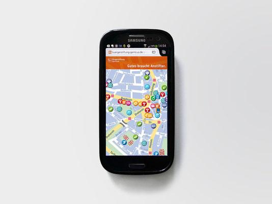 Gerresheim-Stadtplan für Flüchtlinge | Ansicht auf Smartphone
