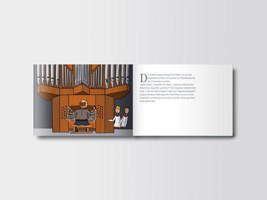 Broschüre für Kinder zum Kirchenschatz von St. Margareta, Düsseldorf | Innenseiten | Illustration: ©Timon Osche