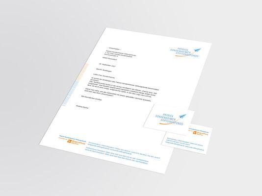 Patrick Sondenheimer Stiftungsfonds | Briefbogen und Visitenkarte (Vorder- und Rückseite)