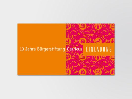 10 Jahre Bürgerstiftung Gerricus | Einladungskarte DIN-lang mit geteilter Vorderseite