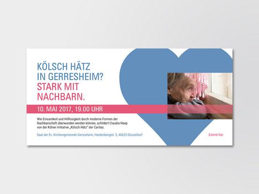 Postkarte zur Ankündigung einer Veranstaltung zum Thema Nachbarschaftshilfe | ©Andrea Osche – www.a-osche.de