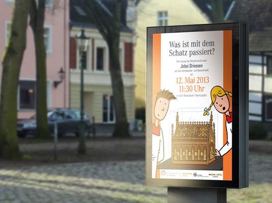 Bürgerstiftung Gerricus, Düsseldorf-Gerresheim | Broschüre für Kinder zum Kirchenschatz von St. Margareta | Ankündigungsplakat | ©Illustration: Timon Osche