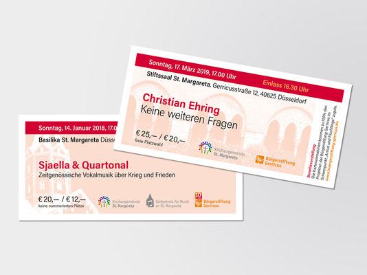 2018 und 2019 | Eintrittskarten für Veranstaltungen, die in der Basilika St. Margareta bzw. im angrenzenden Stiftssaal stattfinden