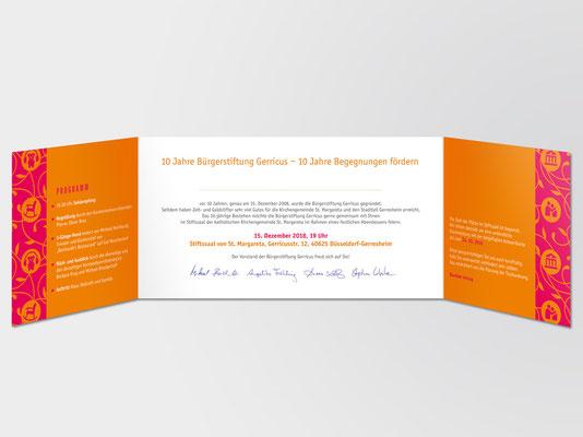 10 Jahre Bürgerstiftung Gerricus | Einladungskarte | Innenansicht