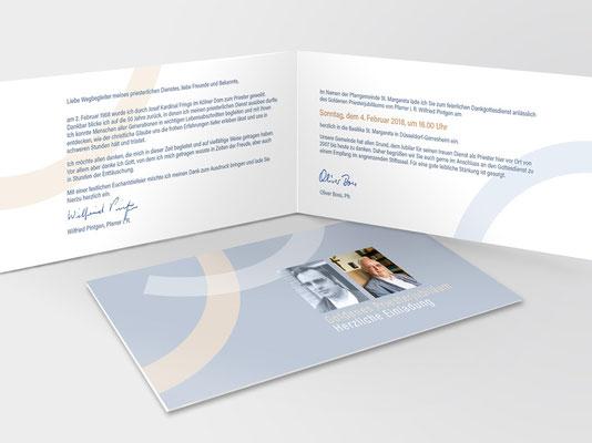 Einladungskarte | Die Bögen sind Bestandteil des St. Margareta-Gemeindelogos
