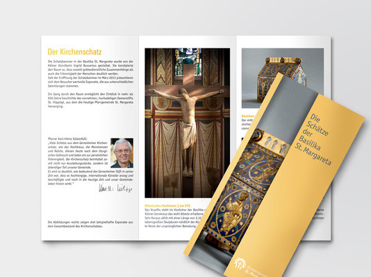 Faltblatt zu den Kirchenschätzen der Basilika St. Margareta, Düsseldorf-Gerresheim | ©Andrea Osche – www.a-osche.de