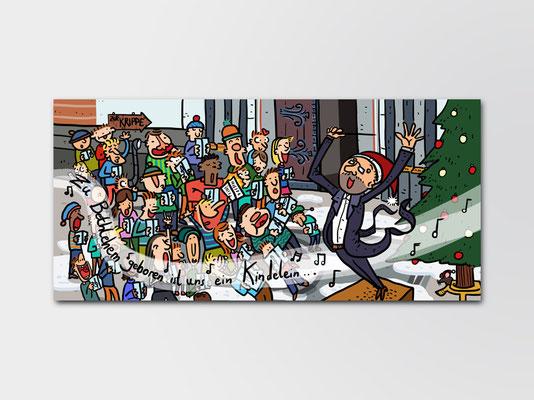Weihnachtspostkarte der Chorschule St. Margareta Düsseldorf | Illustration: Timon Osche  | ©Andrea Osche – www.a-osche.de