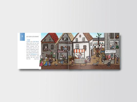 Stadtteilführer für Kinder »Komm mit, wir zeigen dir Gerresheim!« | Innenseiten | Illustration: ©Timon Osche