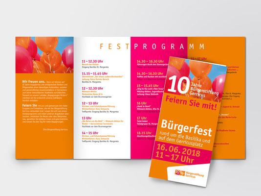 Bürgerstiftung Gerricus | 10-jähriges Jubiläum | Bürgerfest | Programm-Faltblatt | Seite 1