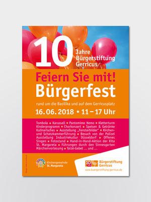 Bürgerstiftung Gerricus, Düsseldorf | 10-jähriges Jubiläum | Bürgerfest | Plakat