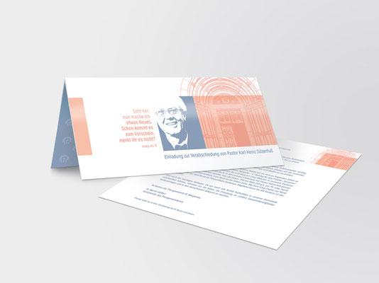 Einladungskarte   Die Farbe Rosa-Orange findet sich an der Fassade und im Inneren der Basilika St. Margareta in Düsseldorf-Gerresheim
