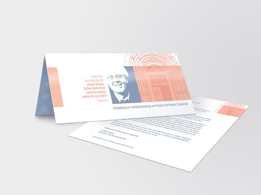2017 | St. Margareta Düsseldorf-Gerresheim | Einladungskarte | Verabschiedung Pfarrer Sülzenfuß | Die Farbe Rosa-Orange findet sich an und in der Basilika