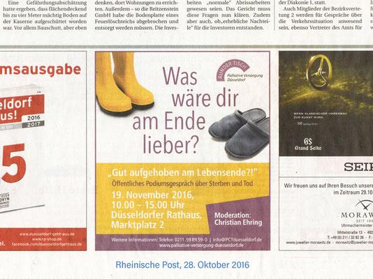 Runder Tisch Palliative Versorgung Düsseldorf | Veranstaltung am 19. November 2016 | Zeitungsanzeige in der Rheinischen Post