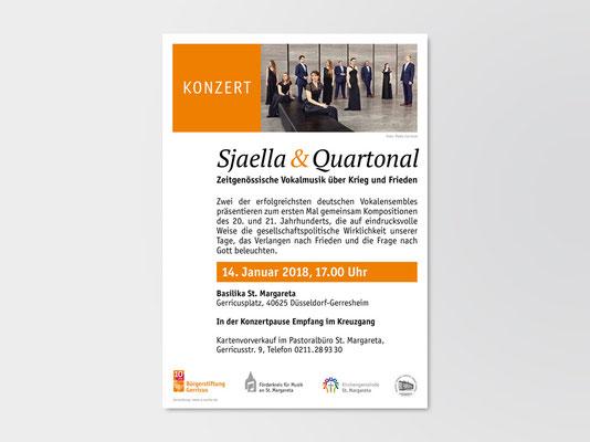 Bürgerstiftung Gerricus, Düsseldorf-Gerresheim | Konzert | Vocal-Ensembles »Sjaella« und »Quartonal« | Veranstaltungsplakat