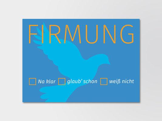Postkarte der St. Margareta-Kirchengemeinde zur Einladung von Firmlingen | ©Andrea Osche – www.a-osche.de