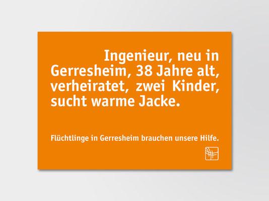 Bürgerstiftung Gerricus, Düsseldorf | Postkarte mit Aufruf zu Spenden für Flüchtlinge
