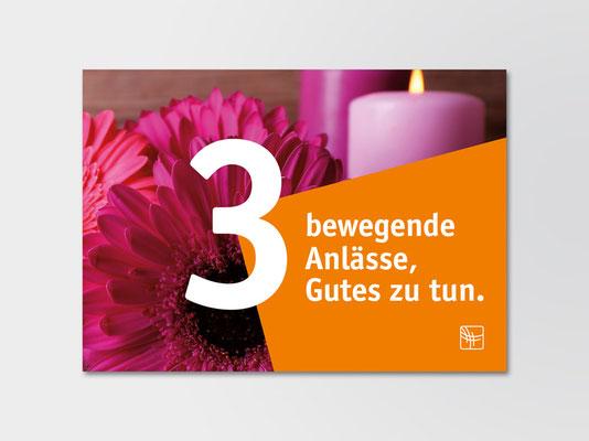 Postkarte mit Anregungen zum Spenden