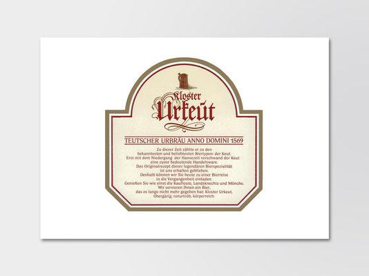Kloster Urkeut | Gestaltung Flaschenetikett | Rückseite