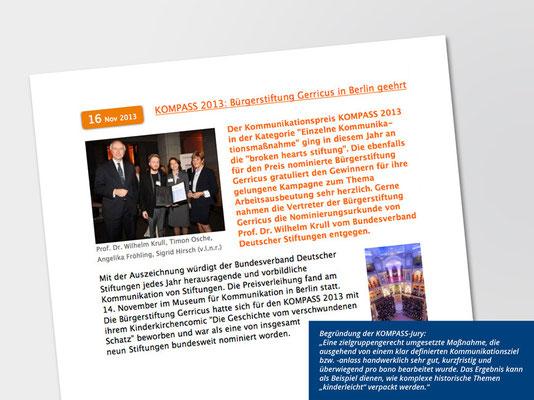 Bürgerstiftung Gerricus, Düsseldorf-Gerresheim | Broschüre für Kinder zum Kirchenschatz von St. Margareta | Bericht über KOMPASS-Nominierung