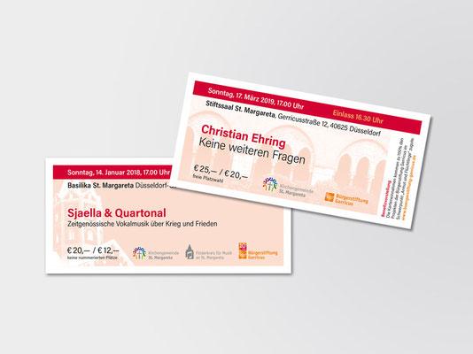 Bürgerstiftung Gerricus, Düsseldorf-Gerresheim | Neues Design der Eintrittskarten für Veranstaltungen der Stiftung